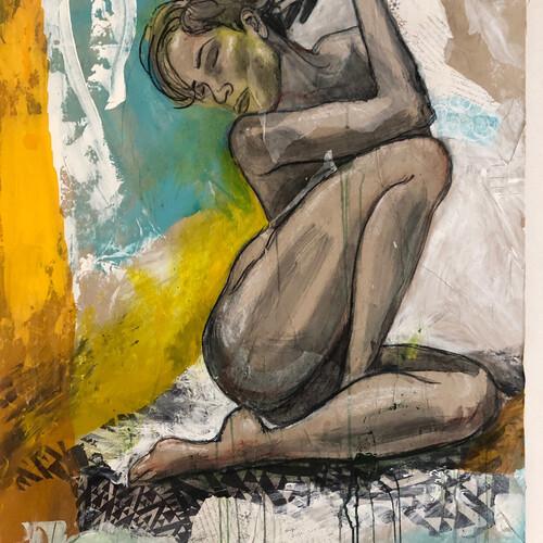 Acryl Collage auf Holz 115x80