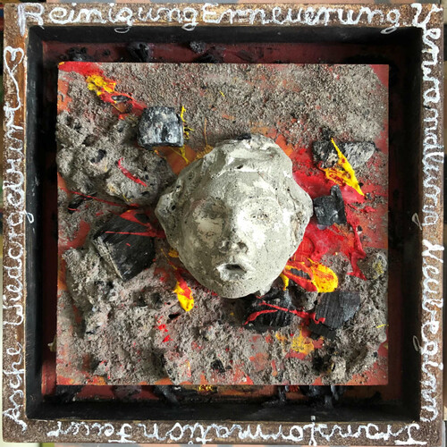 Beton-Asche-Acryl im Holzrahmen 20x20