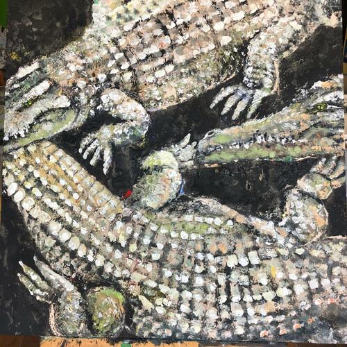 Acryl und Pigmente auf Sand und Schlicke Thema Erde 80x80